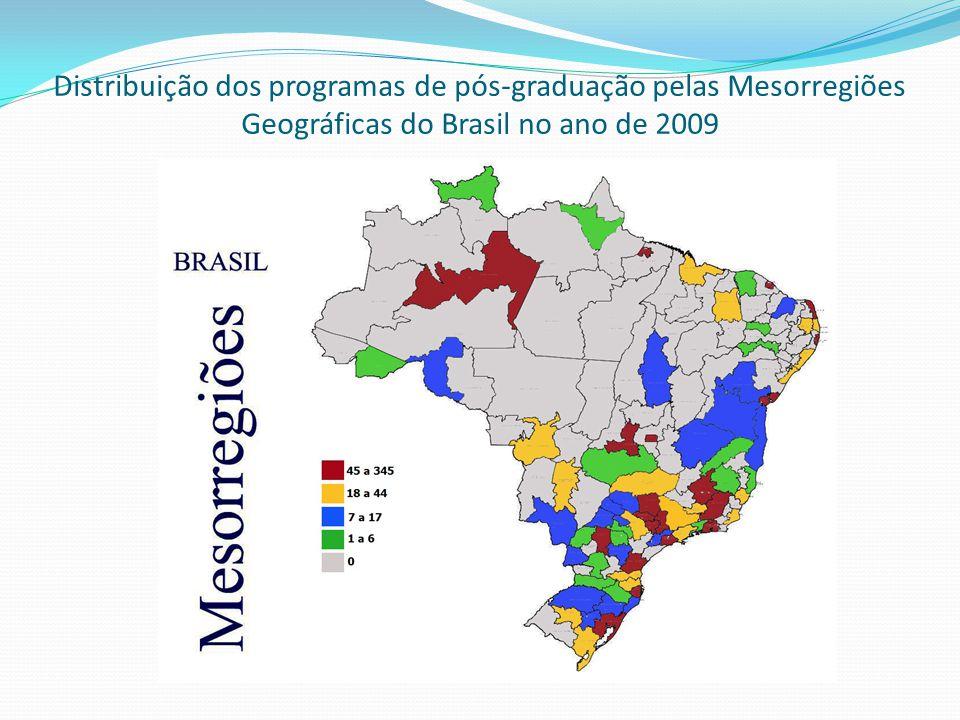 Distribuição dos programas de pós-graduação pelas Mesorregiões Geográficas do Brasil no ano de 2009