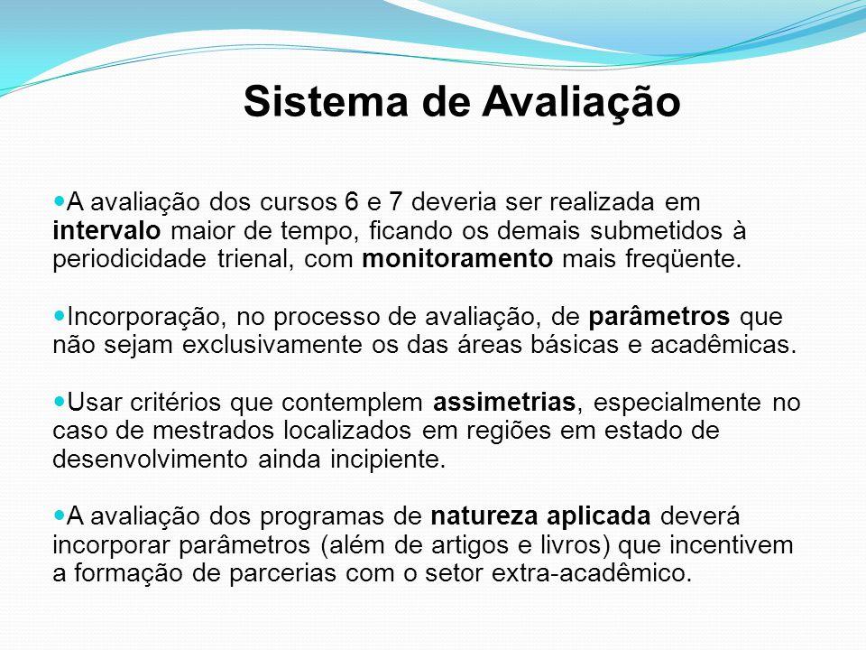 Sistema de Avaliação A avaliação dos cursos 6 e 7 deveria ser realizada em intervalo maior de tempo, ficando os demais submetidos à periodicidade trienal, com monitoramento mais freqüente.