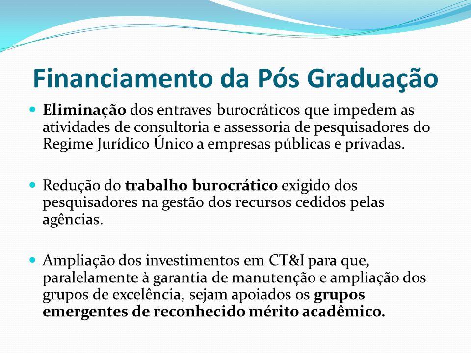 Financiamento da Pós Graduação Eliminação dos entraves burocráticos que impedem as atividades de consultoria e assessoria de pesquisadores do Regime Jurídico Único a empresas públicas e privadas.