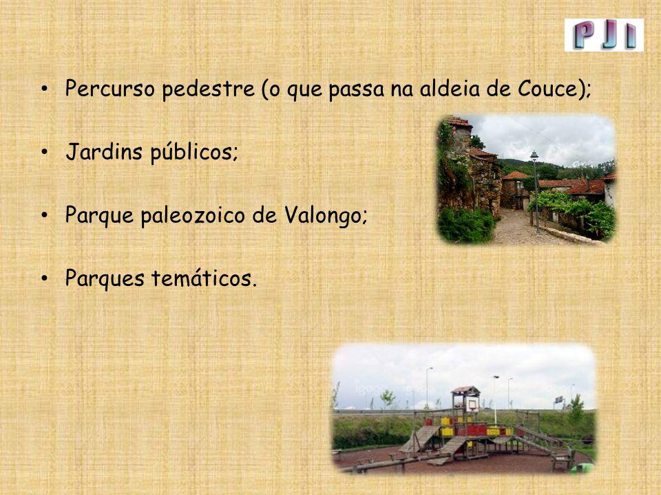 Percurso pedestre (o que passa na aldeia de Couce); Jardins públicos; Parque paleozoico de Valongo; Parques temáticos.