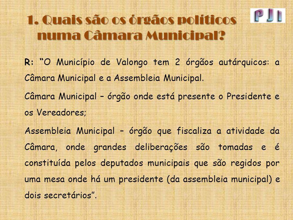 """1. Quais são os órgãos políticos numa Câmara Municipal? R: """"O Município de Valongo tem 2 órgãos autárquicos: a Câmara Municipal e a Assembleia Municip"""