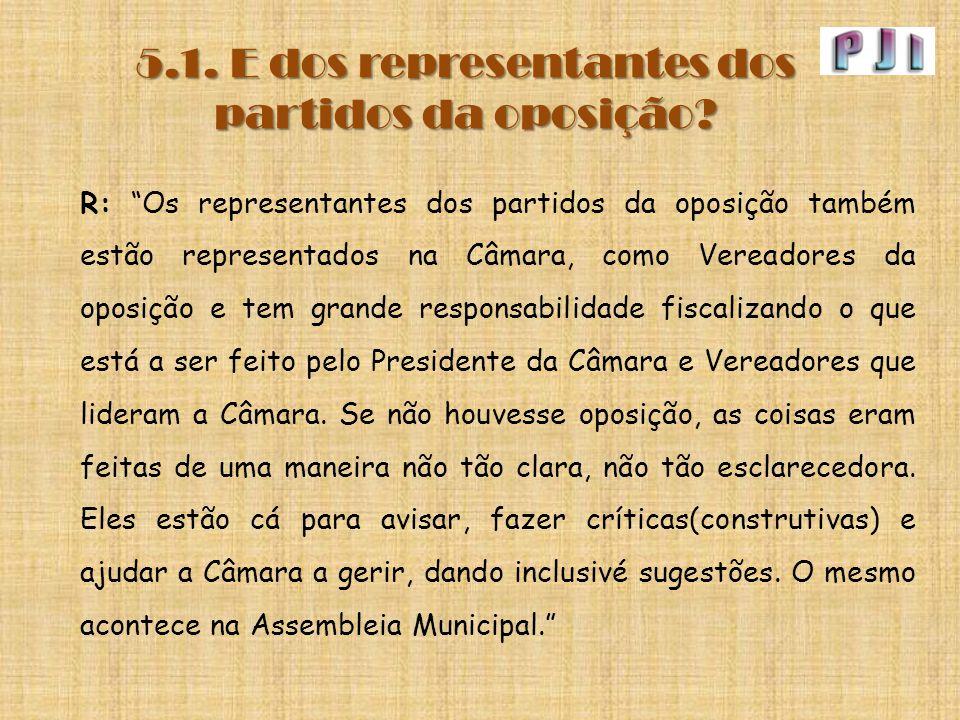 """5.1. E dos representantes dos partidos da oposição? R: """"Os representantes dos partidos da oposição também estão representados na Câmara, como Vereador"""