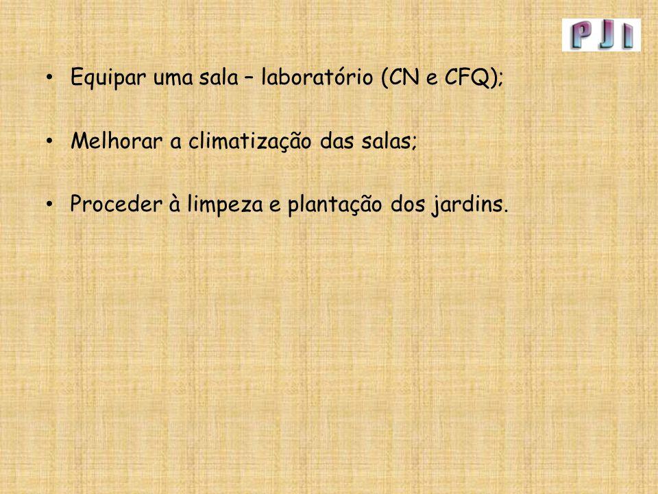 Equipar uma sala – laboratório (CN e CFQ); Melhorar a climatização das salas; Proceder à limpeza e plantação dos jardins.