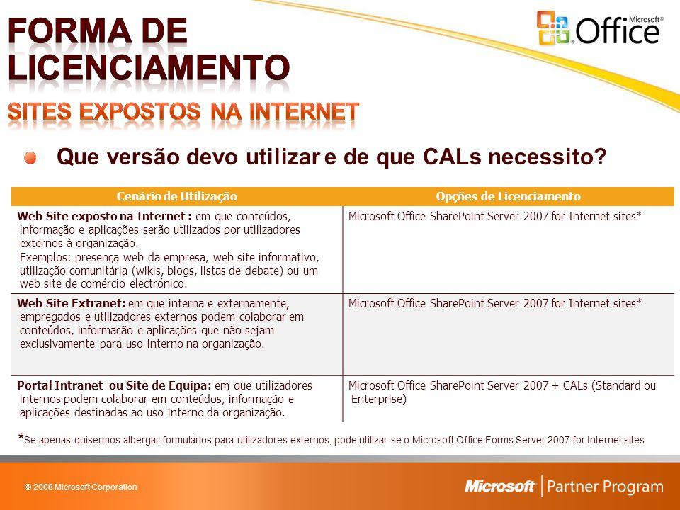 © 2008 Microsoft Corporation Que versão devo utilizar e de que CALs necessito? Cenário de UtilizaçãoOpções de Licenciamento Web Site exposto na Intern