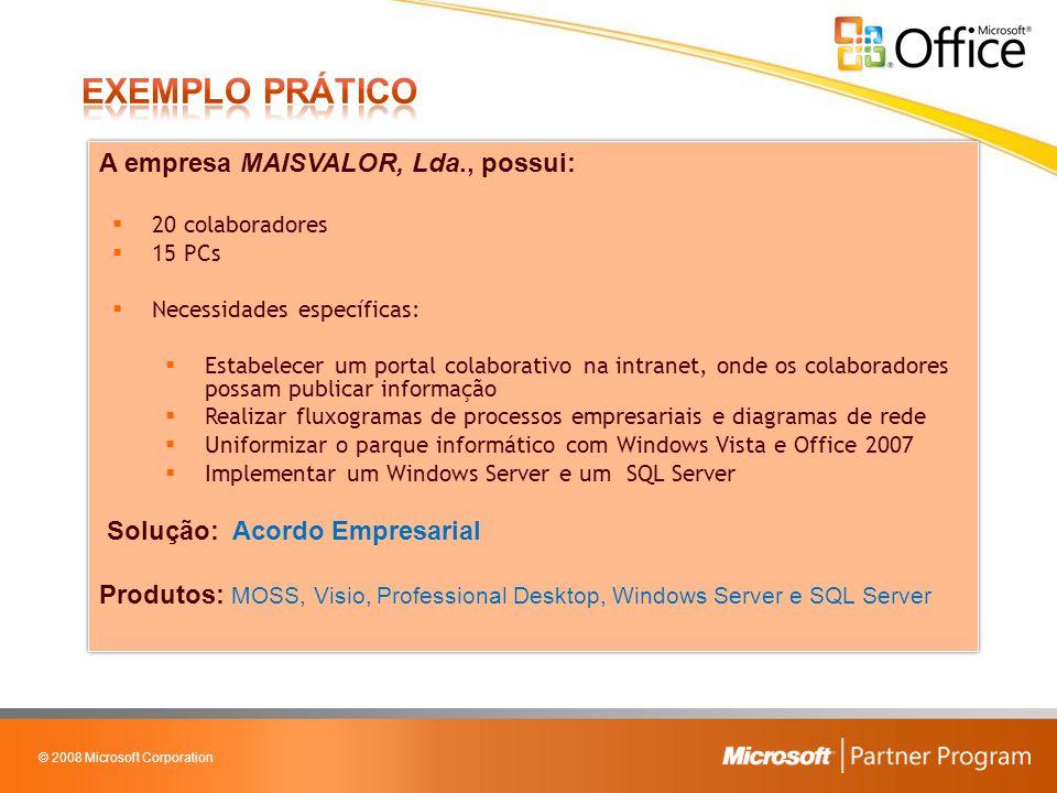 © 2008 Microsoft Corporation A empresa MAISVALOR, Lda., possui:  20 colaboradores  15 PCs  Necessidades específicas:  Estabelecer um portal colabo