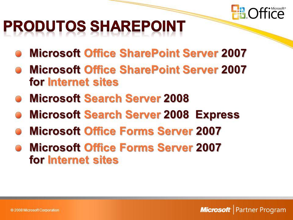 © 2008 Microsoft Corporation Microsoft Windows Server 2008 ou Windows Small Business Server (SBS) 2003 Microsoft SQL Server 2005 Microsoft Windows SharePoint Services