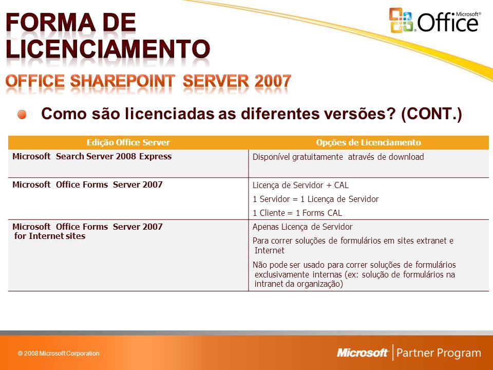 © 2008 Microsoft Corporation Como são licenciadas as diferentes versões? (CONT.) Edição Office ServerOpções de Licenciamento Microsoft Search Server 2
