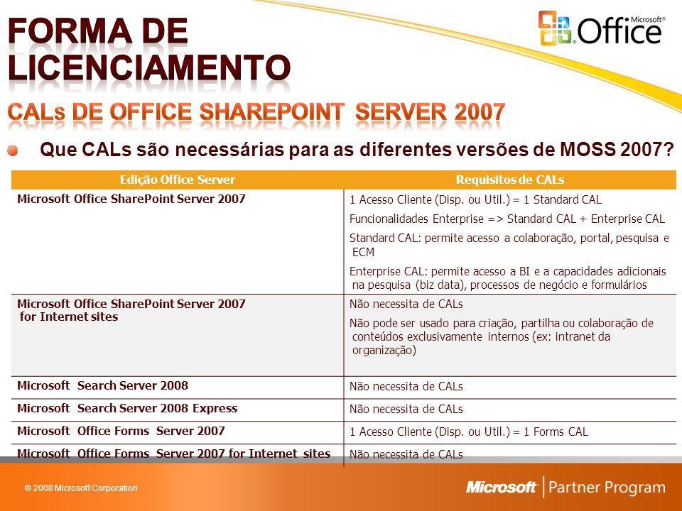 © 2008 Microsoft Corporation Que CALs são necessárias para as diferentes versões de MOSS 2007? Edição Office ServerRequisitos de CALs Microsoft Office