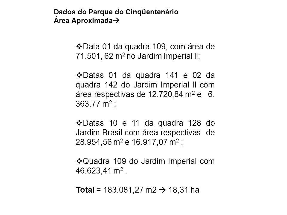  Data 01 da quadra 109, com área de 71.501, 62 m 2 no Jardim Imperial ll;  Datas 01 da quadra 141 e 02 da quadra 142 do Jardim Imperial ll com área respectivas de 12.720,84 m 2 e 6.