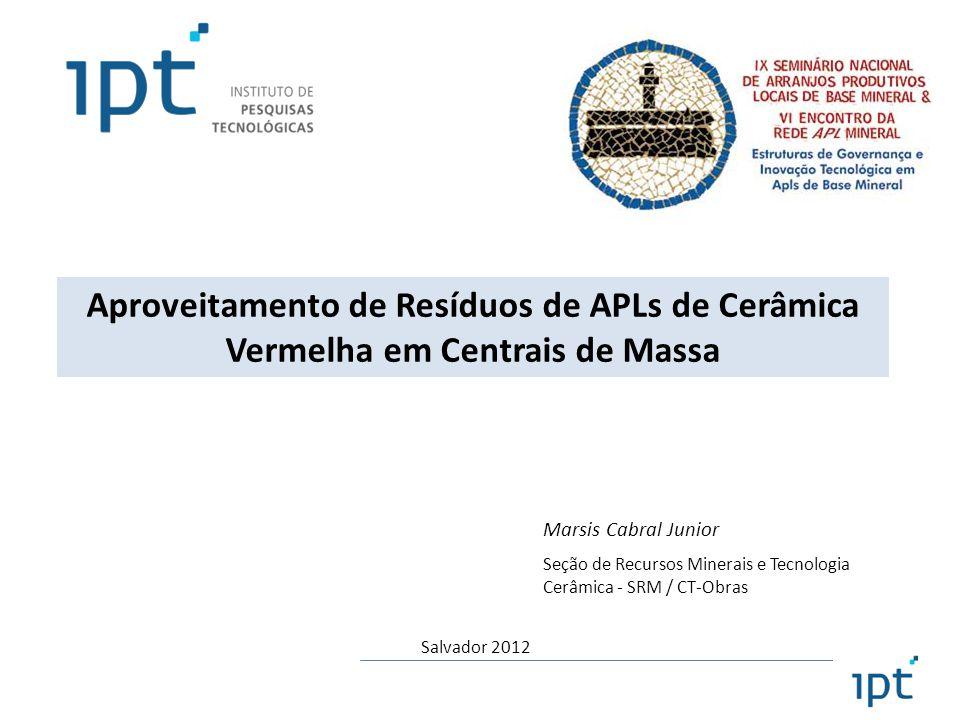 Marsis Cabral Junior Seção de Recursos Minerais e Tecnologia Cerâmica - SRM / CT-Obras Aproveitamento de Resíduos de APLs de Cerâmica Vermelha em Cent