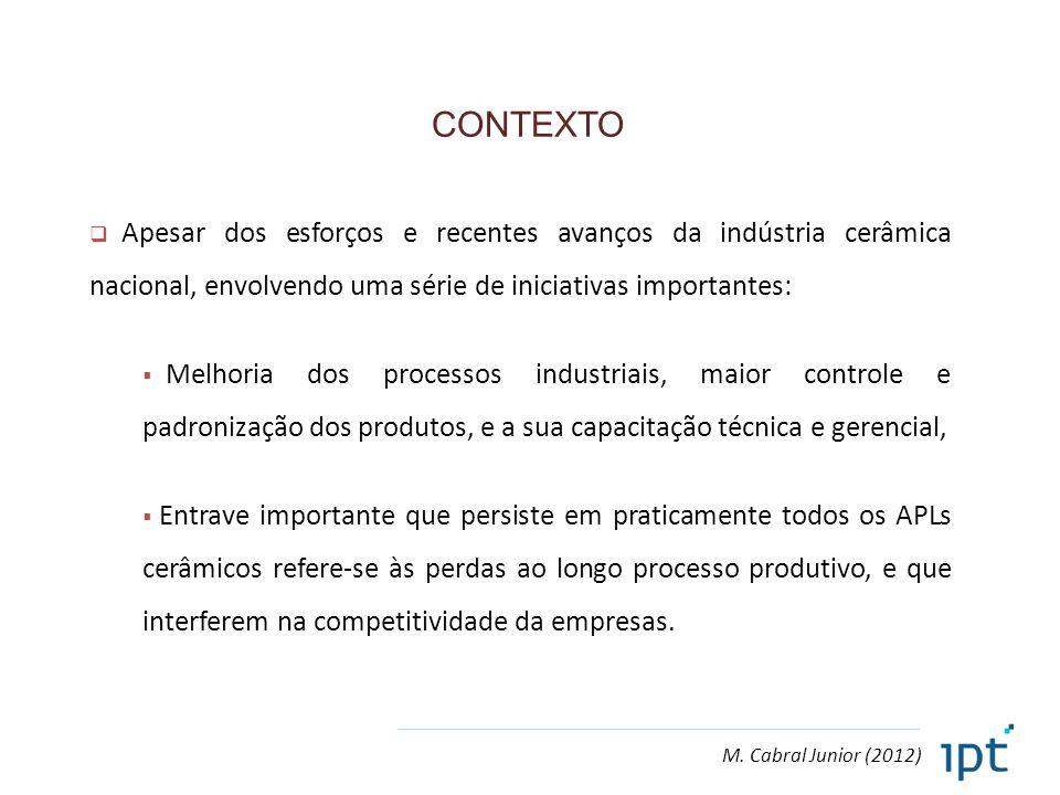 M. Cabral Junior (2012) CONTEXTO  Apesar dos esforços e recentes avanços da indústria cerâmica nacional, envolvendo uma série de iniciativas importan