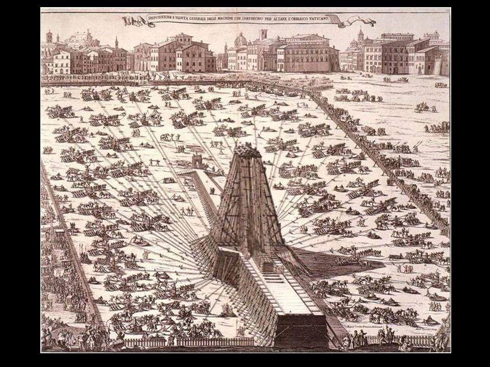 Mais tarde o Papa Sixto V como parte do plano para embelezar Roma ordena a transferência na frente da Basílica do Vaticano.