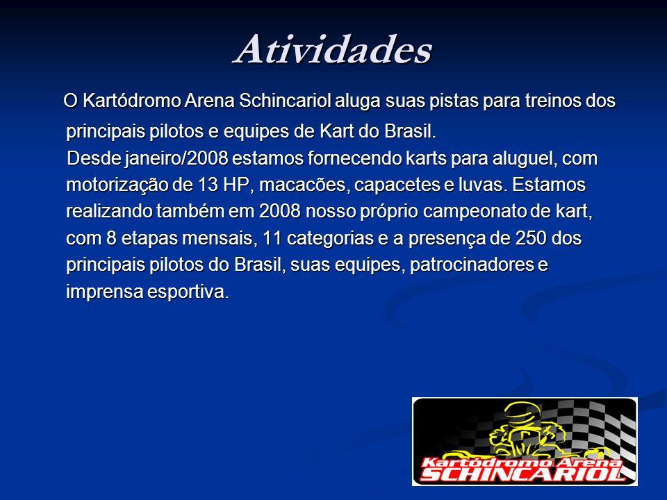 Atividades O Kartódromo Arena Schincariol aluga suas pistas para treinos dos principais pilotos e equipes de Kart do Brasil. O Kartódromo Arena Schinc