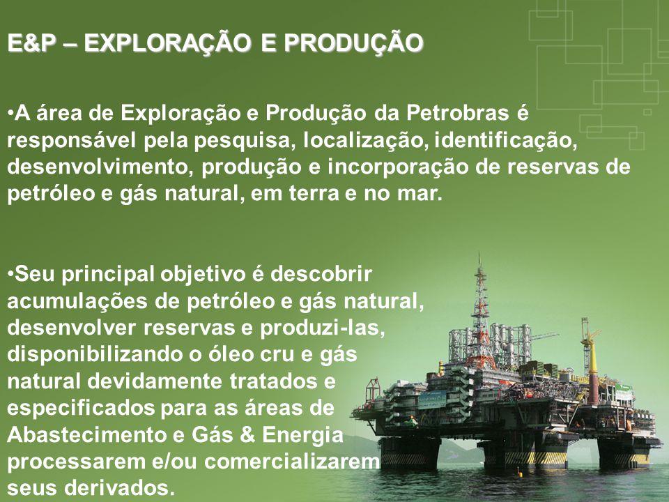 E&P – EXPLORAÇÃO E PRODUÇÃO A área de Exploração e Produção da Petrobras é responsável pela pesquisa, localização, identificação, desenvolvimento, pro