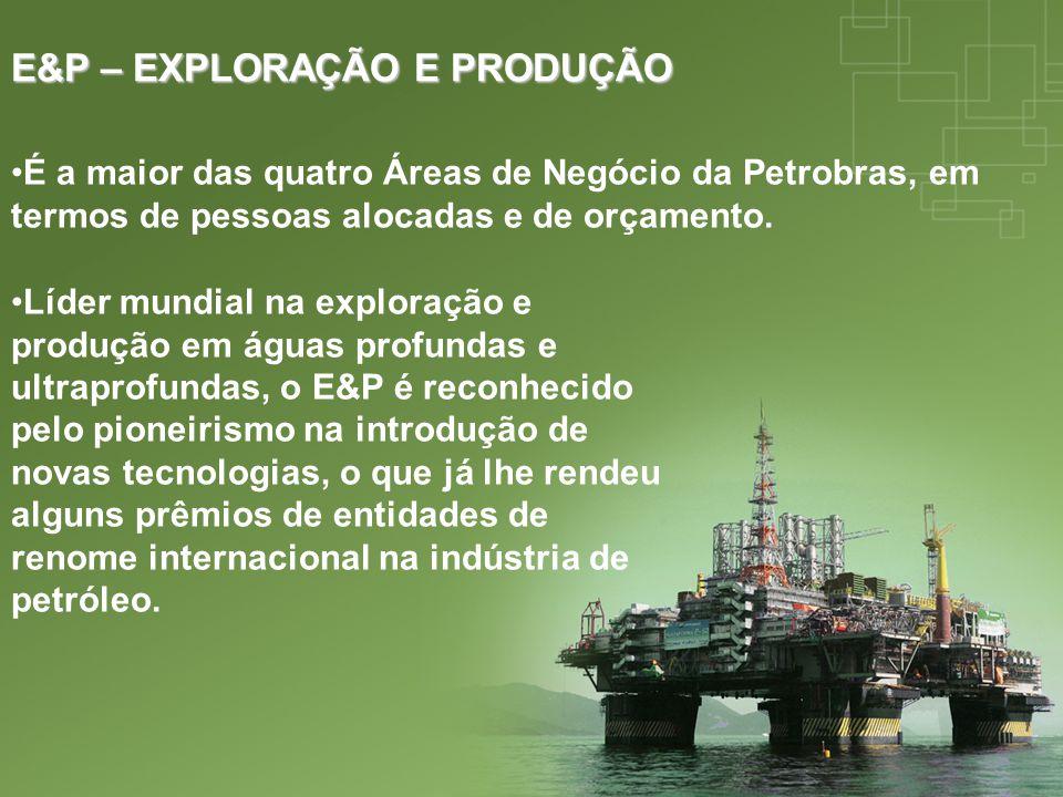 E&P – EXPLORAÇÃO E PRODUÇÃO É a maior das quatro Áreas de Negócio da Petrobras, em termos de pessoas alocadas e de orçamento. Líder mundial na explora