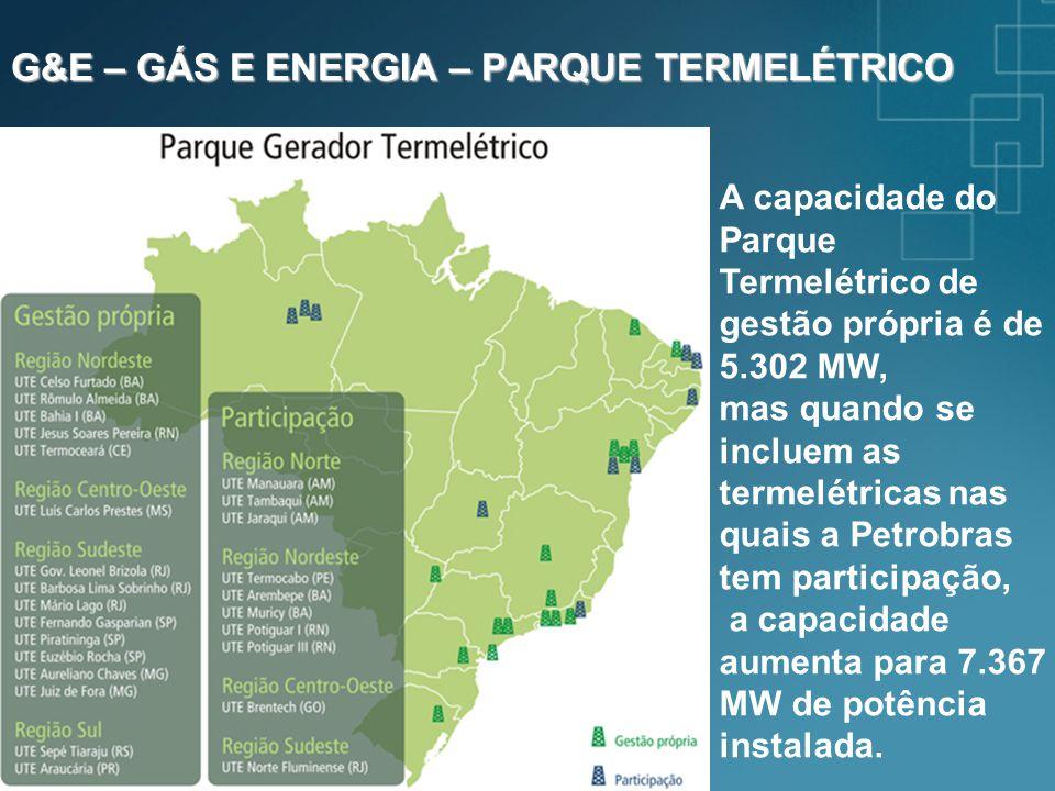 G&E – GÁS E ENERGIA – PARQUE TERMELÉTRICO A capacidade do Parque Termelétrico de gestão própria é de 5.302 MW, mas quando se incluem as termelétricas