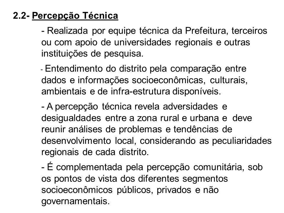 2.2- Percepção Técnica - Realizada por equipe técnica da Prefeitura, terceiros ou com apoio de universidades regionais e outras instituições de pesqui