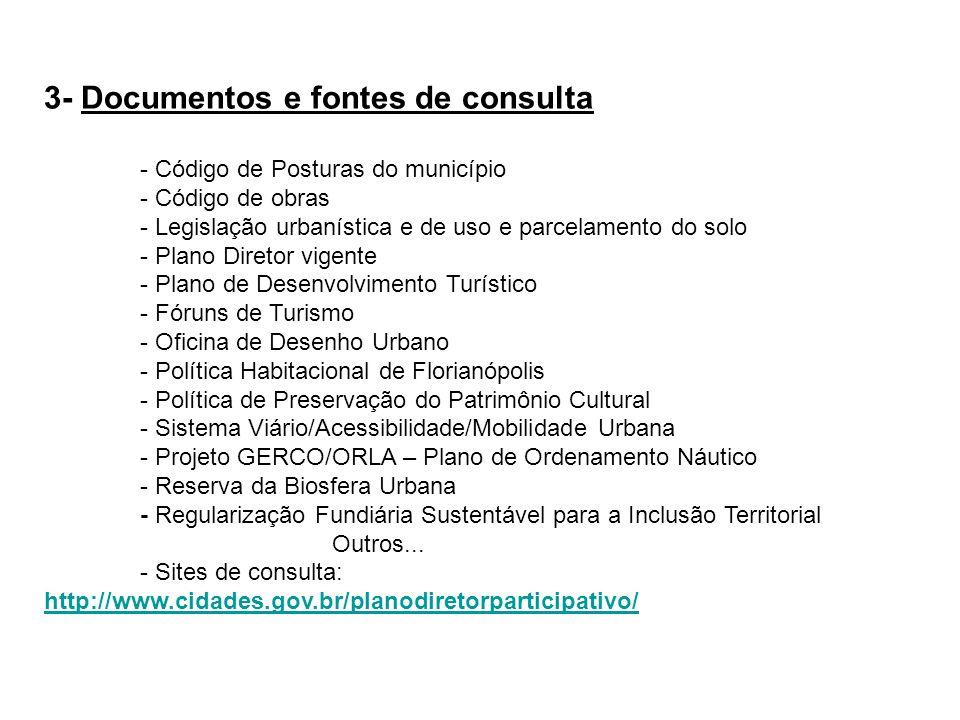 3- Documentos e fontes de consulta - Código de Posturas do município - Código de obras - Legislação urbanística e de uso e parcelamento do solo - Plan