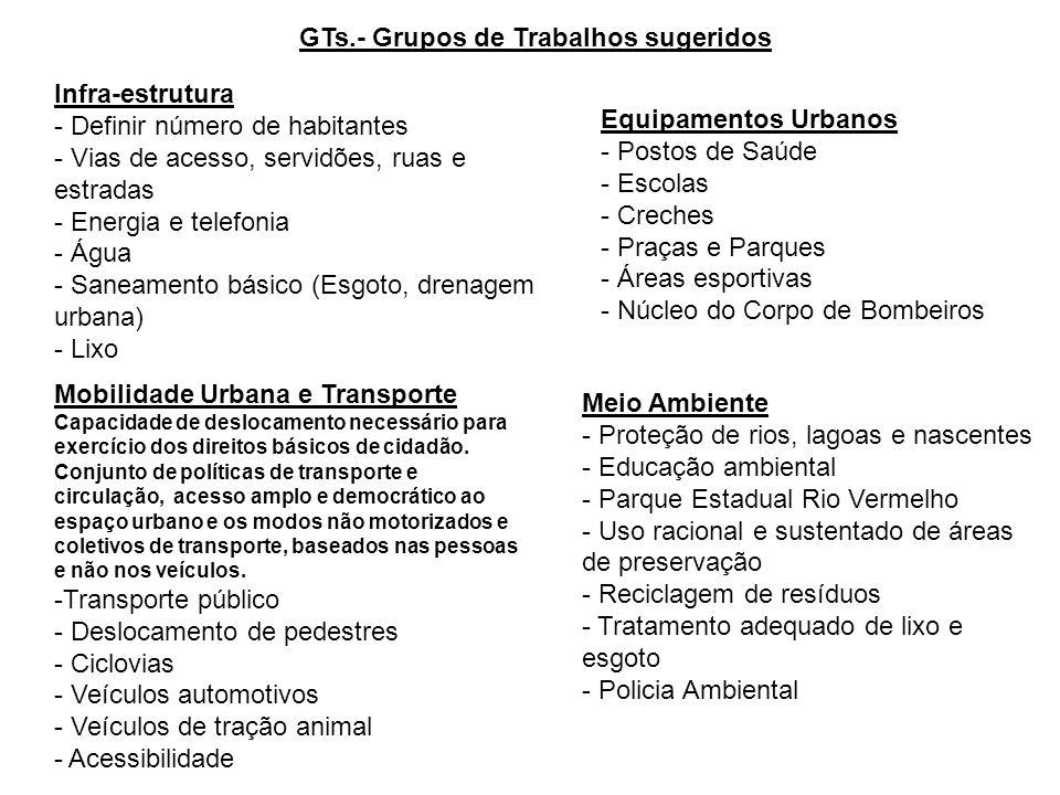GTs.- Grupos de Trabalhos sugeridos Infra-estrutura - Definir número de habitantes - Vias de acesso, servidões, ruas e estradas - Energia e telefonia
