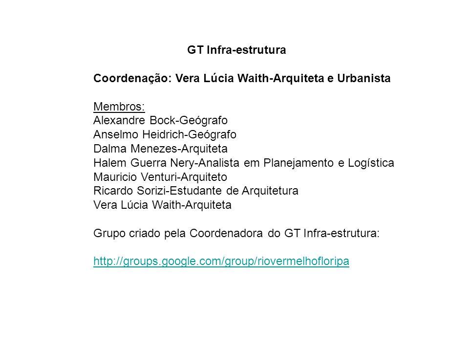 GT Infra-estrutura Coordenação: Vera Lúcia Waith-Arquiteta e Urbanista Membros: Alexandre Bock-Geógrafo Anselmo Heidrich-Geógrafo Dalma Menezes-Arquit