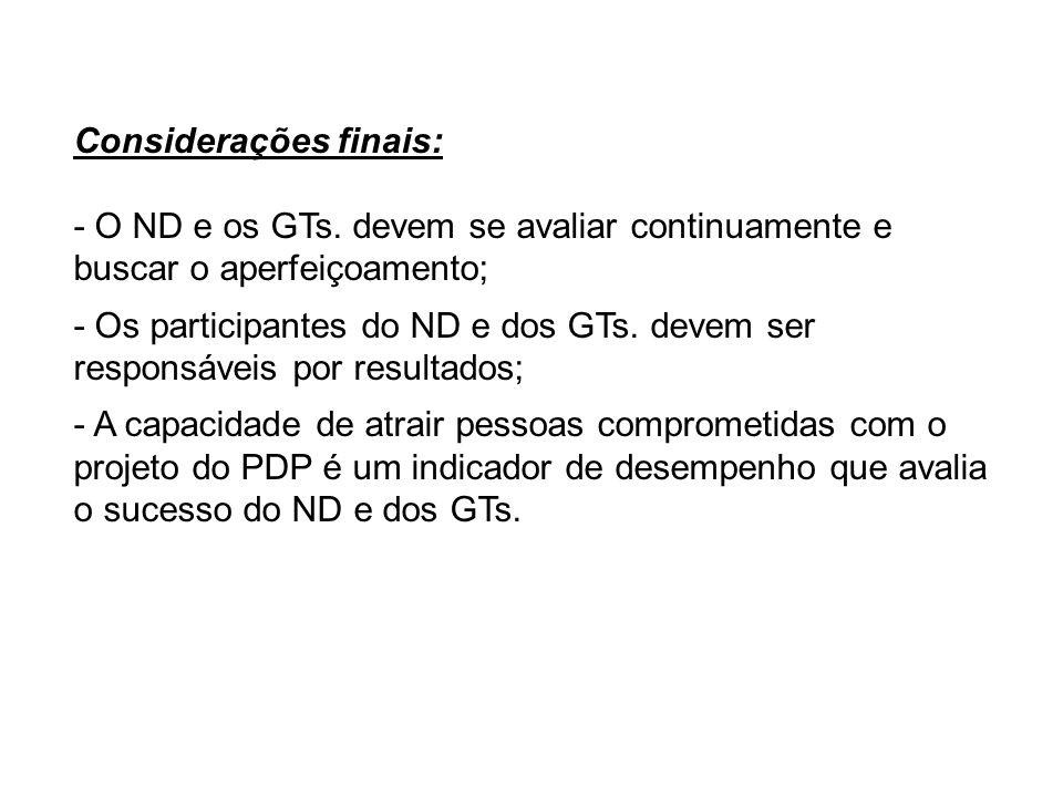 Considerações finais: - O ND e os GTs. devem se avaliar continuamente e buscar o aperfeiçoamento; - Os participantes do ND e dos GTs. devem ser respon