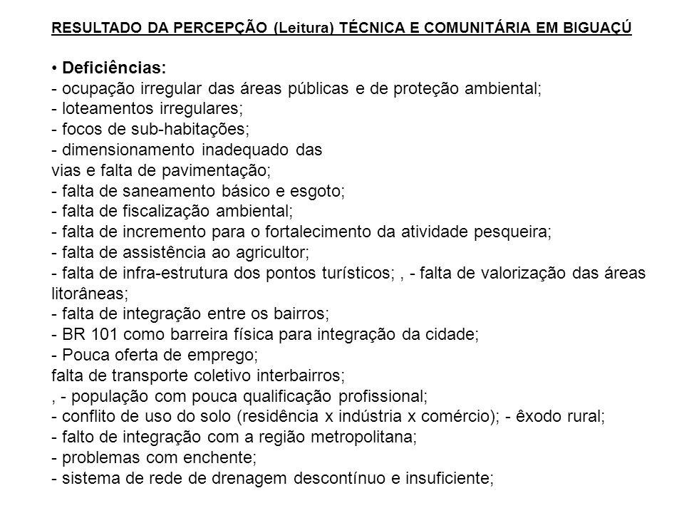 RESULTADO DA PERCEPÇÃO (Leitura) TÉCNICA E COMUNITÁRIA EM BIGUAÇÚ Deficiências: - ocupação irregular das áreas públicas e de proteção ambiental; - lot