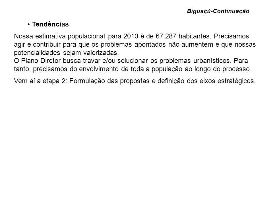Tendências Nossa estimativa populacional para 2010 é de 67.287 habitantes. Precisamos agir e contribuir para que os problemas apontados não aumentem e