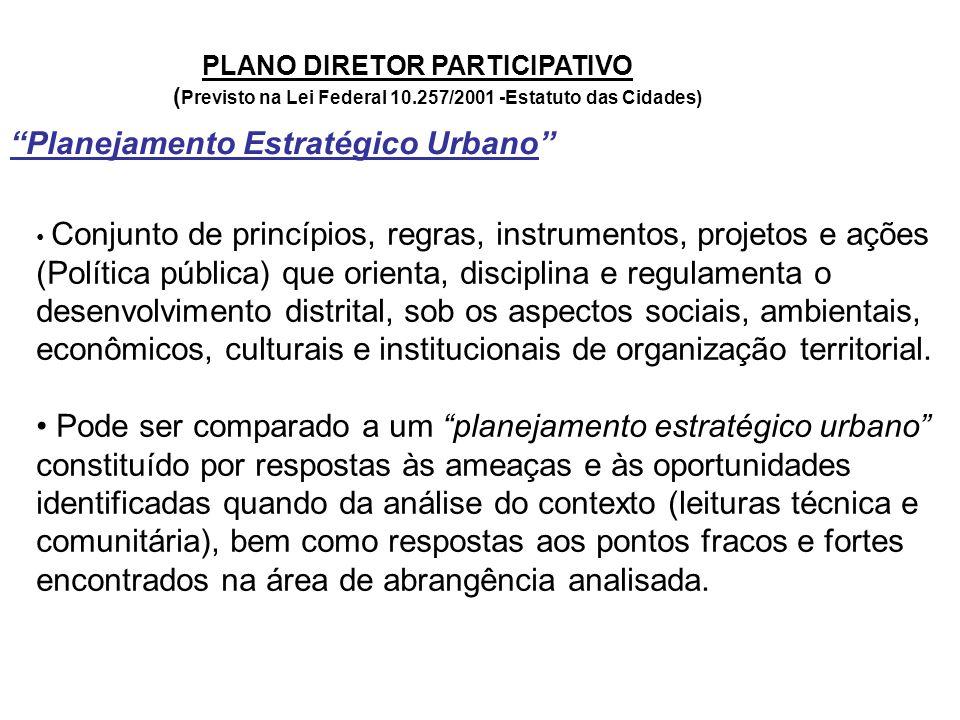 """PLANO DIRETOR PARTICIPATIVO ( Previsto na Lei Federal 10.257/2001 -Estatuto das Cidades) """"Planejamento Estratégico Urbano"""" Conjunto de princípios, reg"""