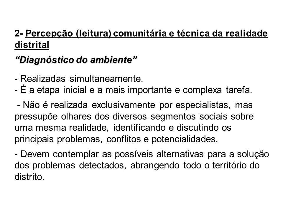 2.1- Percepção comunitária - definição da categoria de áreas -Urbana e rural.