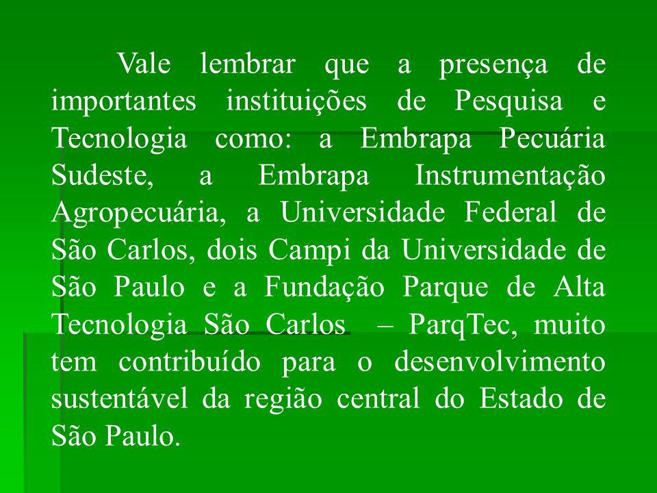 Vale lembrar que a presença de importantes instituições de Pesquisa e Tecnologia como: a Embrapa Pecuária Sudeste, a Embrapa Instrumentação Agropecuár