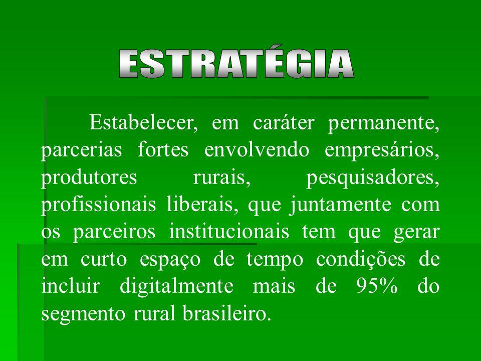 Estabelecer, em caráter permanente, parcerias fortes envolvendo empresários, produtores rurais, pesquisadores, profissionais liberais, que juntamente com os parceiros institucionais tem que gerar em curto espaço de tempo condições de incluir digitalmente mais de 95% do segmento rural brasileiro.