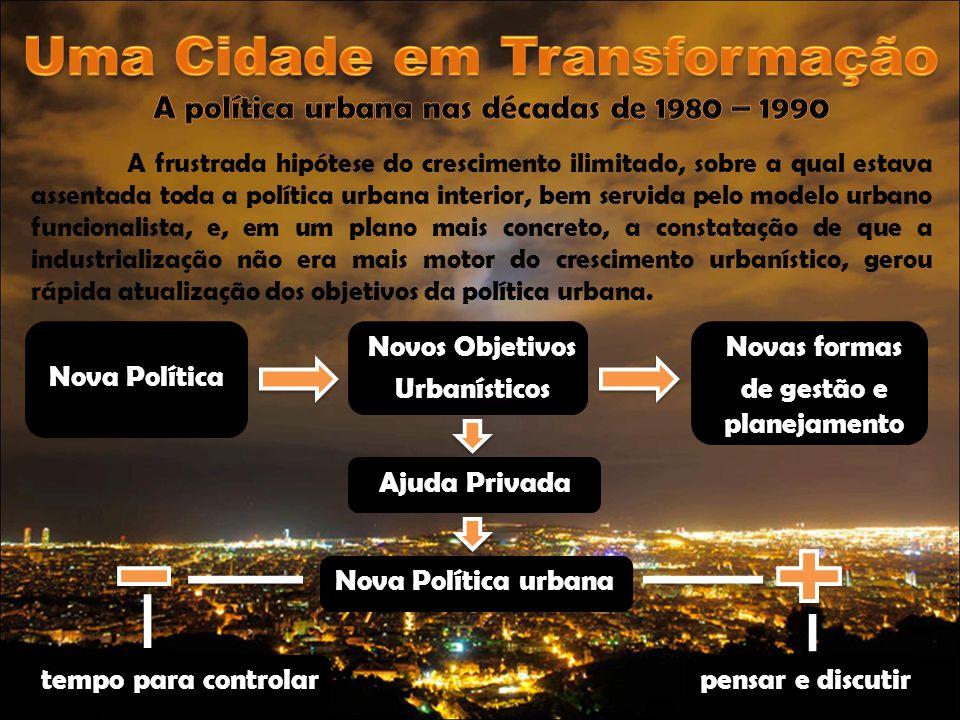 A frustrada hipótese do crescimento ilimitado, sobre a qual estava assentada toda a política urbana interior, bem servida pelo modelo urbano funcional