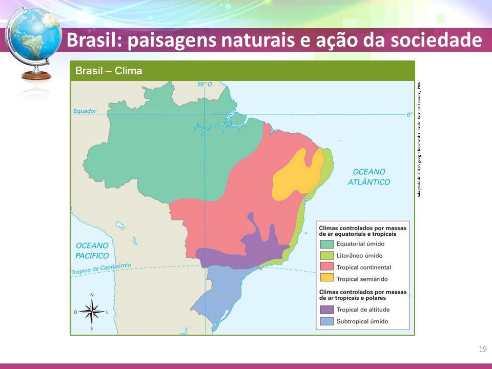 Brasil: paisagens naturais e ação da sociedade Brasil – Clima Adaptado de ATLAS geográfico escolar.