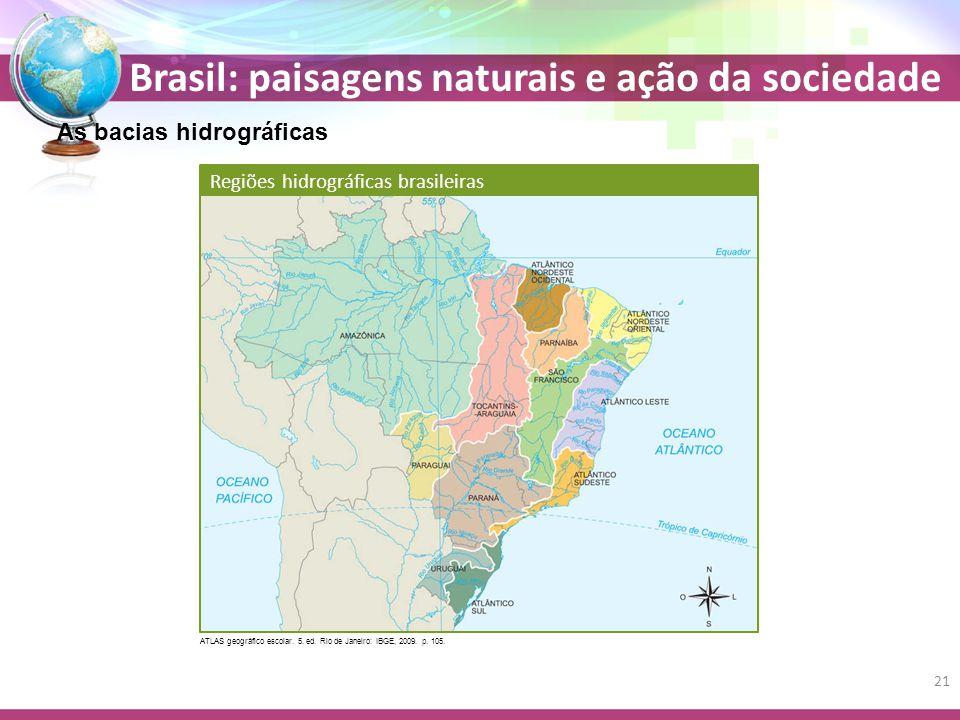 Brasil: paisagens naturais e ação da sociedade As bacias hidrográficas Regiões hidrográficas brasileiras ATLAS geográfico escolar.