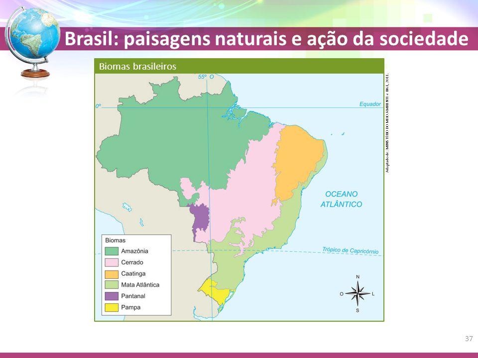 Brasil: paisagens naturais e ação da sociedade Biomas brasileiros Adaptado de: MINISTÉRIO DO MEIO AMBIENTE e IBGE, 2011.