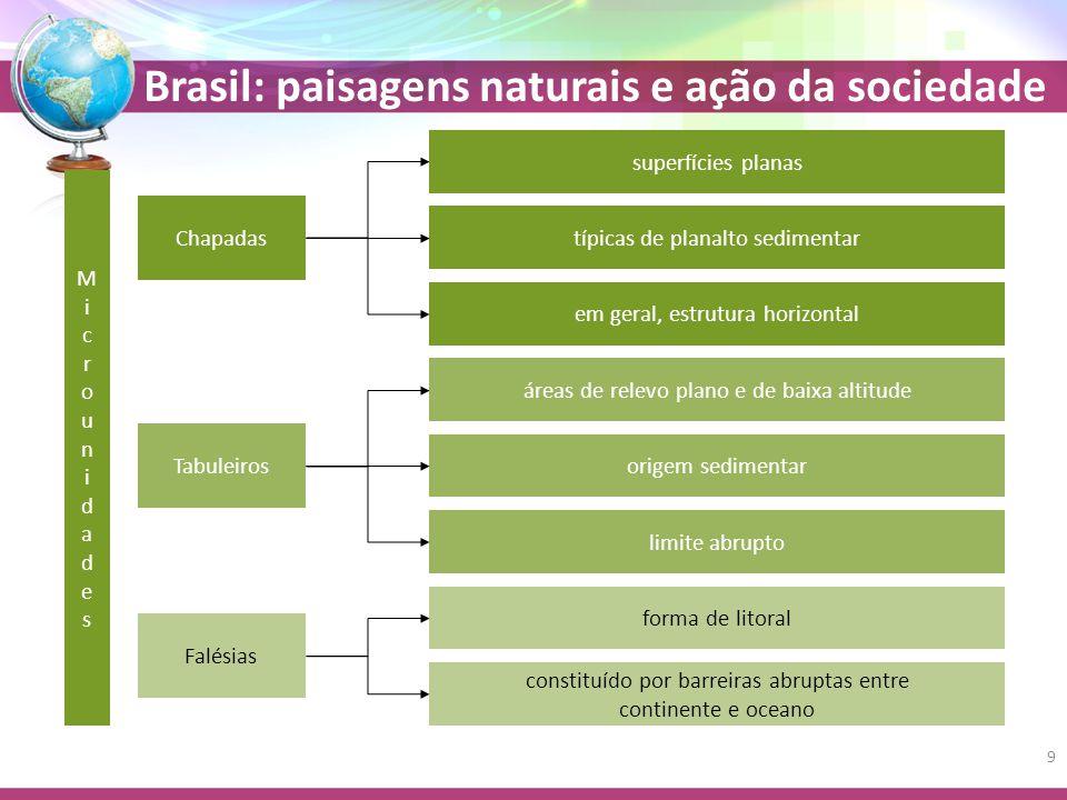 Brasil: paisagens naturais e ação da sociedade Meio natural Meio ambiente humano Produto da atividade humana Fruto da natureza Meio cultural Com a modernização da sociedade o meio cultural passa a predominar sobre o meio natural 40