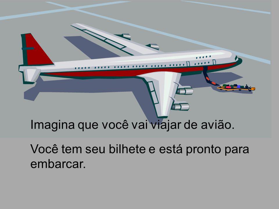 Imagina que você vai viajar de avião. Você tem seu bilhete e está pronto para embarcar.