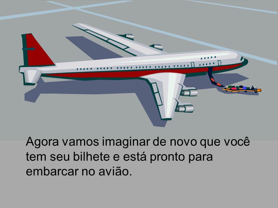 Agora vamos imaginar de novo que você tem seu bilhete e está pronto para embarcar no avião.