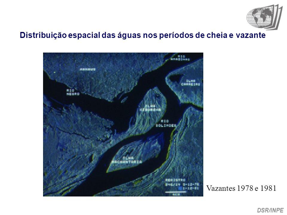 Distribuição espacial das águas nos períodos de cheia e vazante Vazantes 1978 e 1981