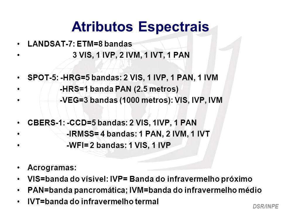 Atributos Espectrais LANDSAT-7: ETM=8 bandas 3 VIS, 1 IVP, 2 IVM, 1 IVT, 1 PAN SPOT-5: -HRG=5 bandas: 2 VIS, 1 IVP, 1 PAN, 1 IVM -HRS=1 banda PAN (2.5