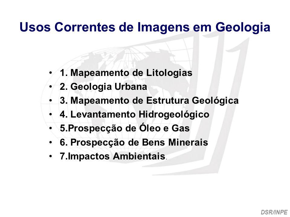 Usos Correntes de Imagens em Geologia 1. Mapeamento de Litologias 2. Geologia Urbana 3. Mapeamento de Estrutura Geológica 4. Levantamento Hidrogeológi
