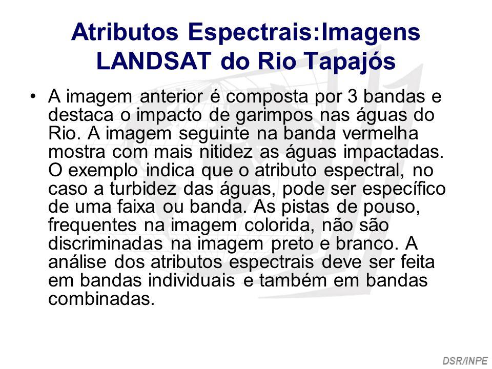 Atributos Espectrais:Imagens LANDSAT do Rio Tapajós A imagem anterior é composta por 3 bandas e destaca o impacto de garimpos nas águas do Rio. A imag