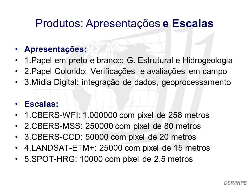 Produtos: Apresentações e Escalas Apresentações: 1.Papel em preto e branco: G. Estrutural e Hidrogeologia 2.Papel Colorido: Verificações e avaliações