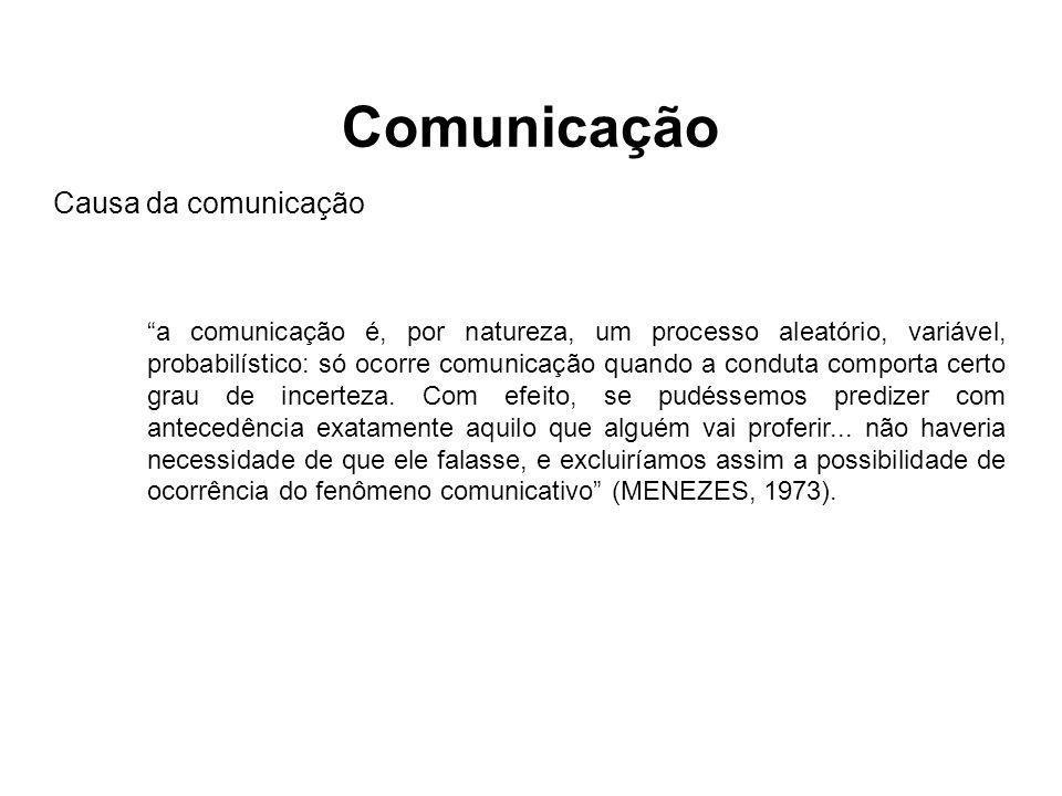 """""""a comunicação é, por natureza, um processo aleatório, variável, probabilístico: só ocorre comunicação quando a conduta comporta certo grau de incerte"""