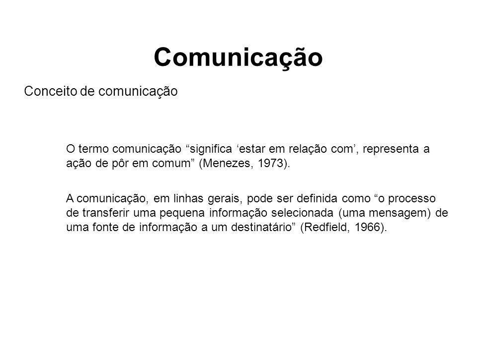 """O termo comunicação """"significa 'estar em relação com', representa a ação de pôr em comum"""" (Menezes, 1973). A comunicação, em linhas gerais, pode ser d"""