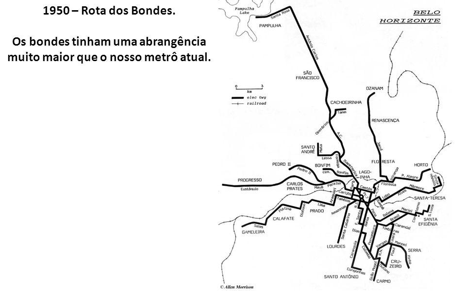 1950 – Rota dos Bondes. Os bondes tinham uma abrangência muito maior que o nosso metrô atual.