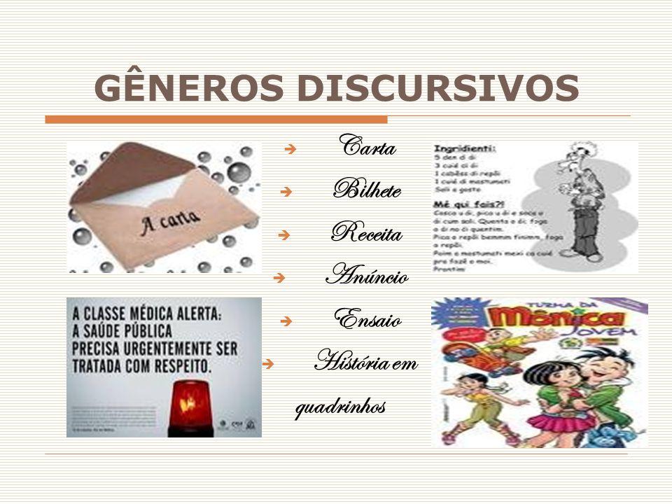 GÊNEROS DISCURSIVOS  Carta  Bilhete  Receita  Anúncio  Ensaio  História em quadrinhos