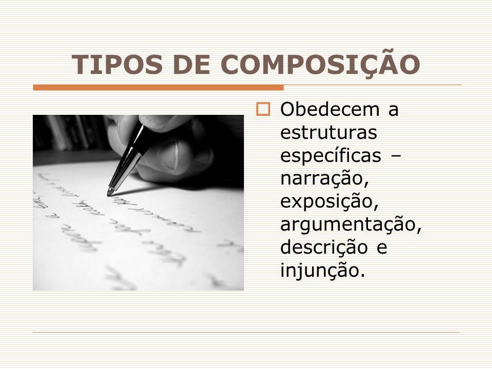 TIPOS DE COMPOSIÇÃO  Obedecem a estruturas específicas – narração, exposição, argumentação, descrição e injunção.