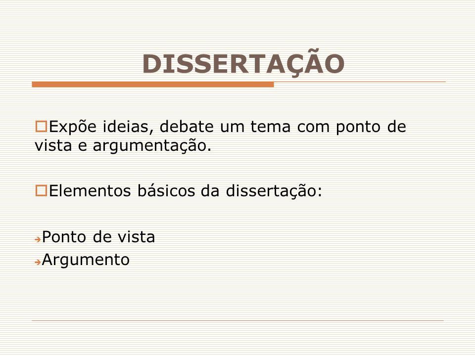 DISSERTAÇÃO  Expõe ideias, debate um tema com ponto de vista e argumentação.  Elementos básicos da dissertação:  Ponto de vista  Argumento