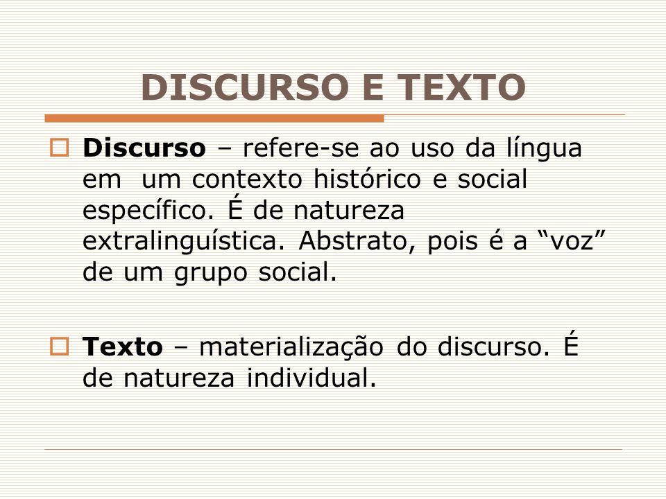 """ Discurso – refere-se ao uso da língua em um contexto histórico e social específico. É de natureza extralinguística. Abstrato, pois é a """"voz"""" de um g"""